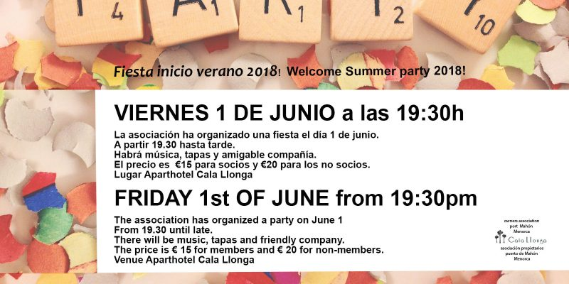 Welcome Party 2018: Friday the 1st of june